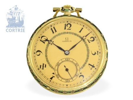 Pocket watch: very rare Art Deco gold/enamel dress watch by Omega, ca. 1920-
