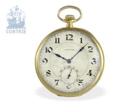 Pocket watch: Longines gentlemen's watch with rare 18 K gold special case, ca. 1915-