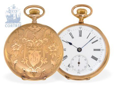Pocket watch: very beautiful Art Nouveau gold watch, ca. 1900, probably Vereinigte Freiburger Uhrenfabrik (Silesia)-