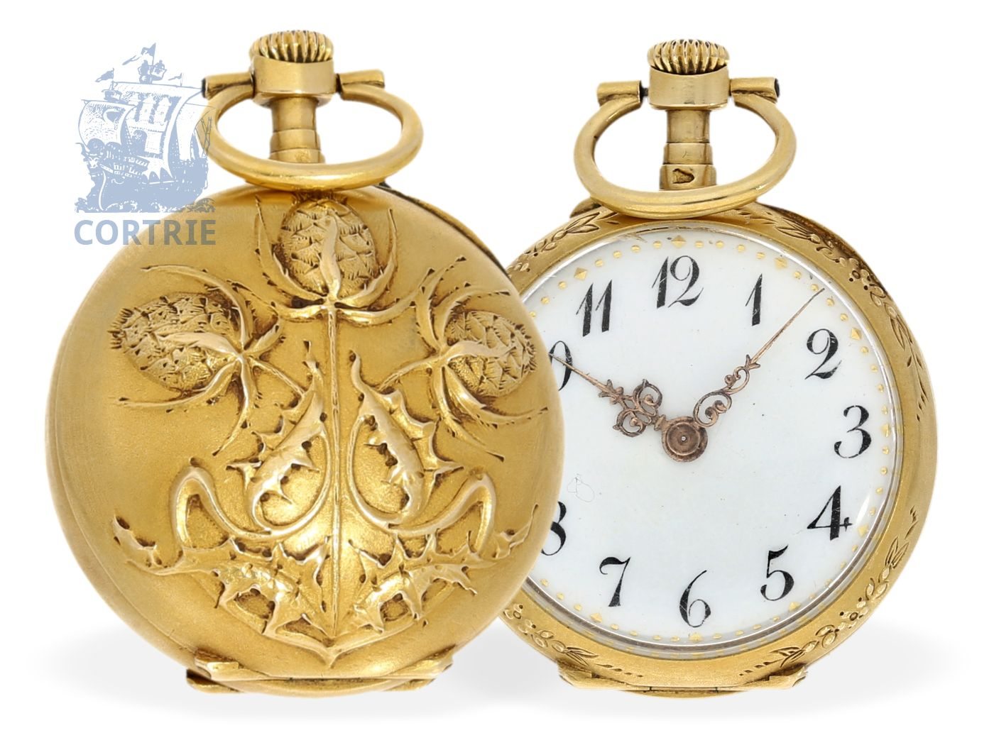 Pocket watch/pendant watch: fine Art Nouveau ladies watch, Le Coultre, 18K gold, ca. 1900-