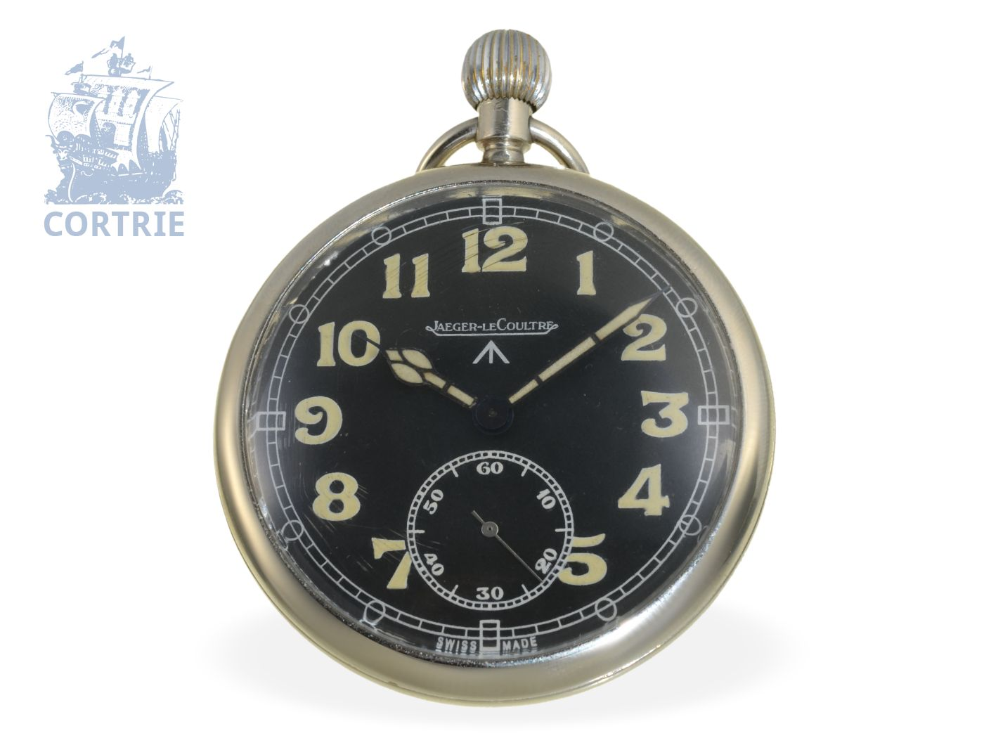 Pocket watch: rare military watch by Le Coultre, very good condition, especially made for British Ministry of Defense No.G.S.T.P. M44496, ca. 1940-