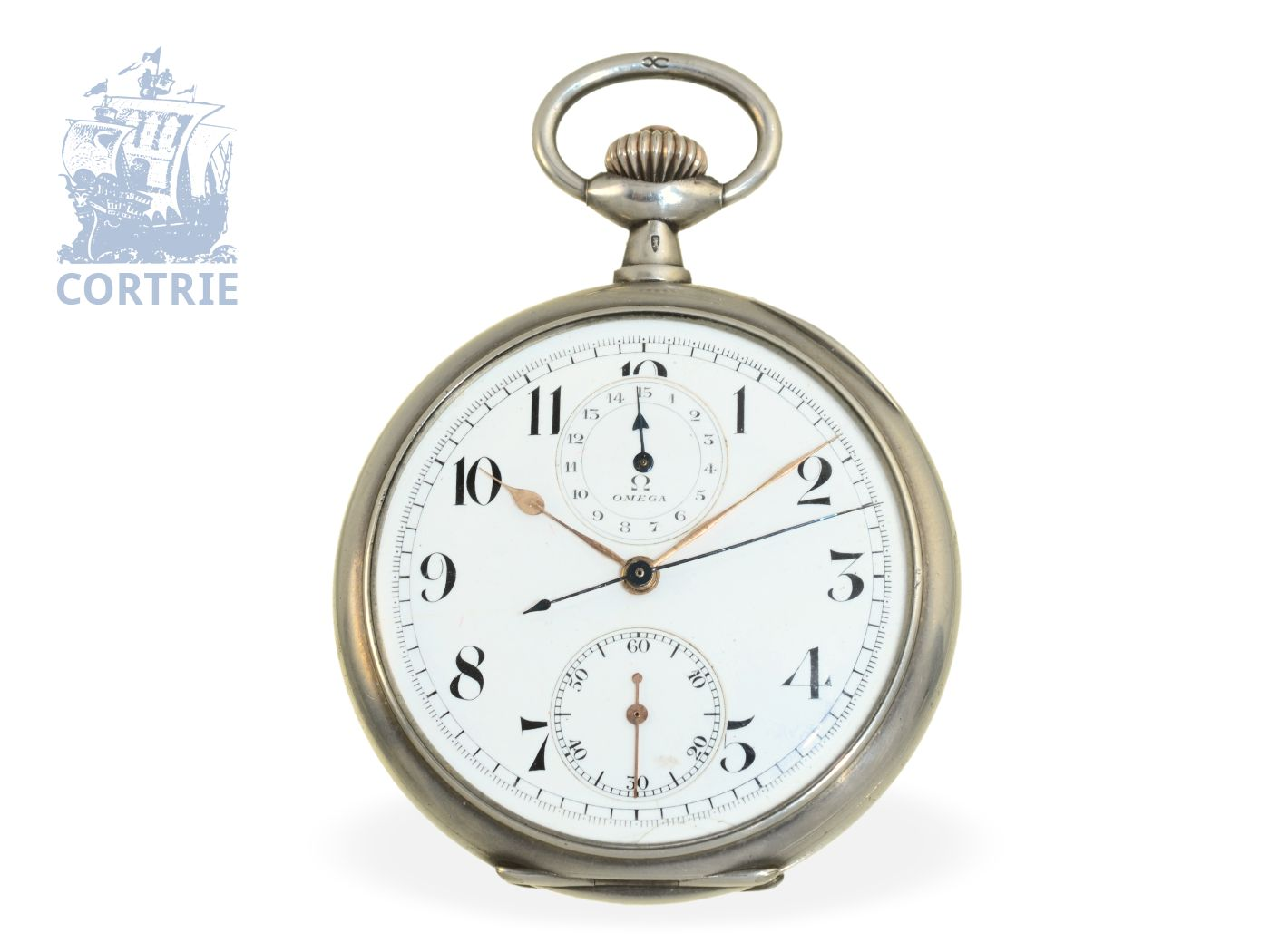 Pocket watch: fine Omega pocket watch chronograph with register, silver case, ca. 1915-