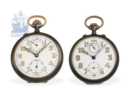 Pocket watch: pair of new-old-stock pocket watches with alarm, ca. 1920, Zenith-