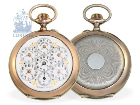 Pocket watch: rare world timer with curious signature, nearly unused, probably France ca. 1900-