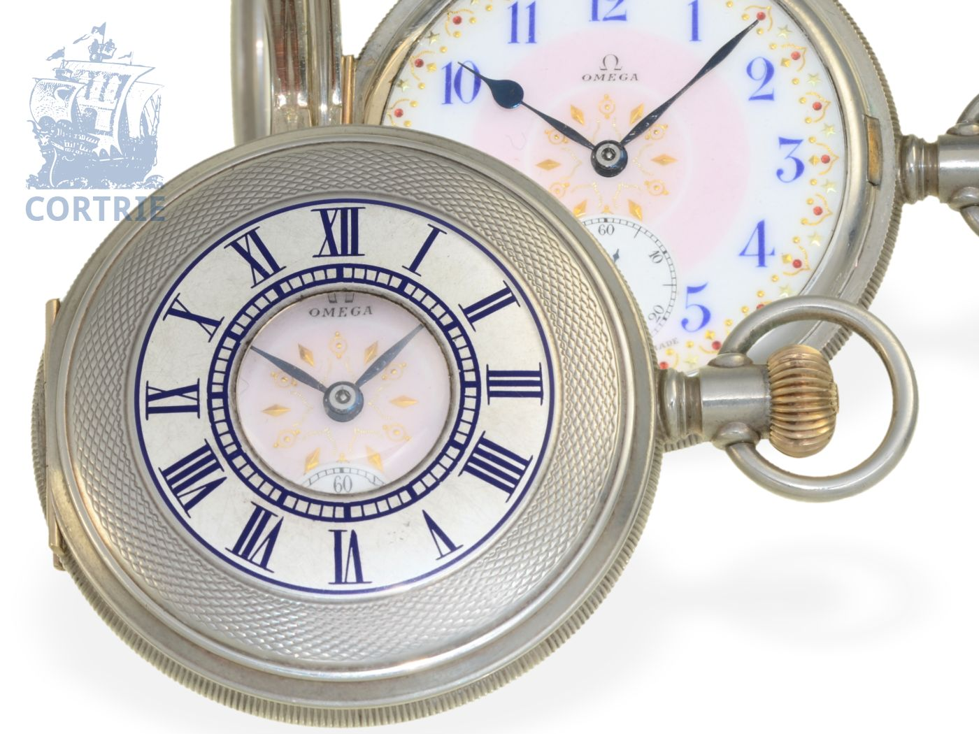 Pocket watch: very rare export watch by Omega, for American market, pink enamel dial Fancy Dial, special quality, ca. 1905-