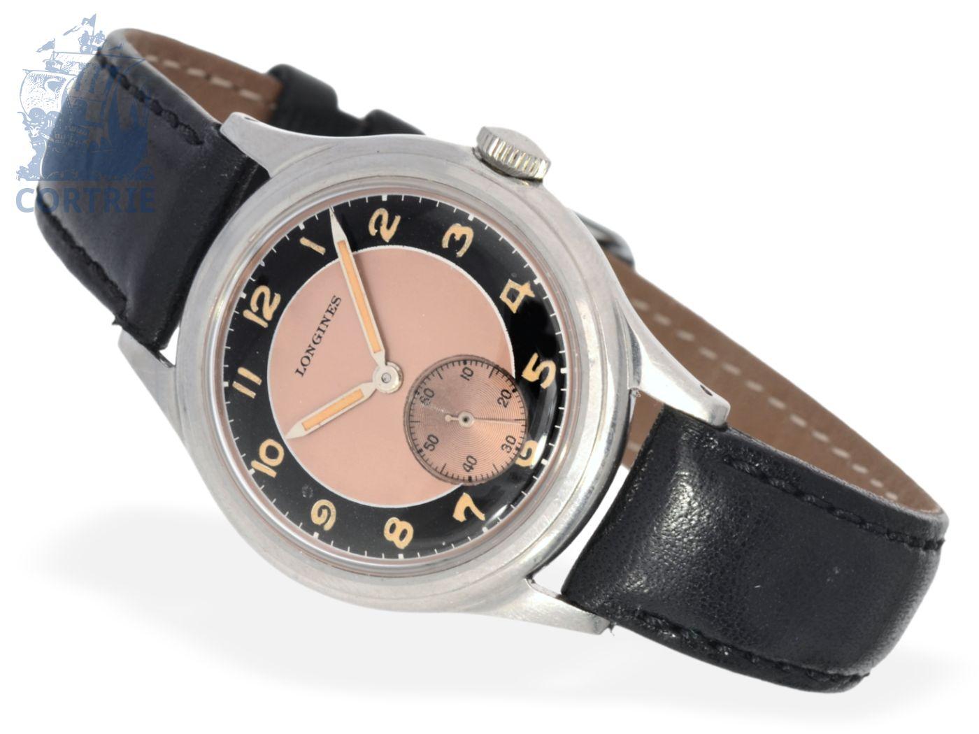 Wristwatch: fine and rare Longines gentlemen's watch, stainless steel, ca. 1940-
