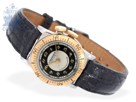 Wristwatch: rare and small Longines Weems pilot's watch, ca. 1945-