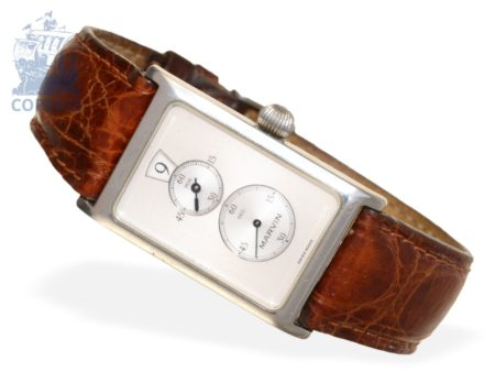 Wristwatch: rare and limited vintage gentlemen's watch with jumping hours Marvin Saltarello Jump Hour Regulator, stainless steel-