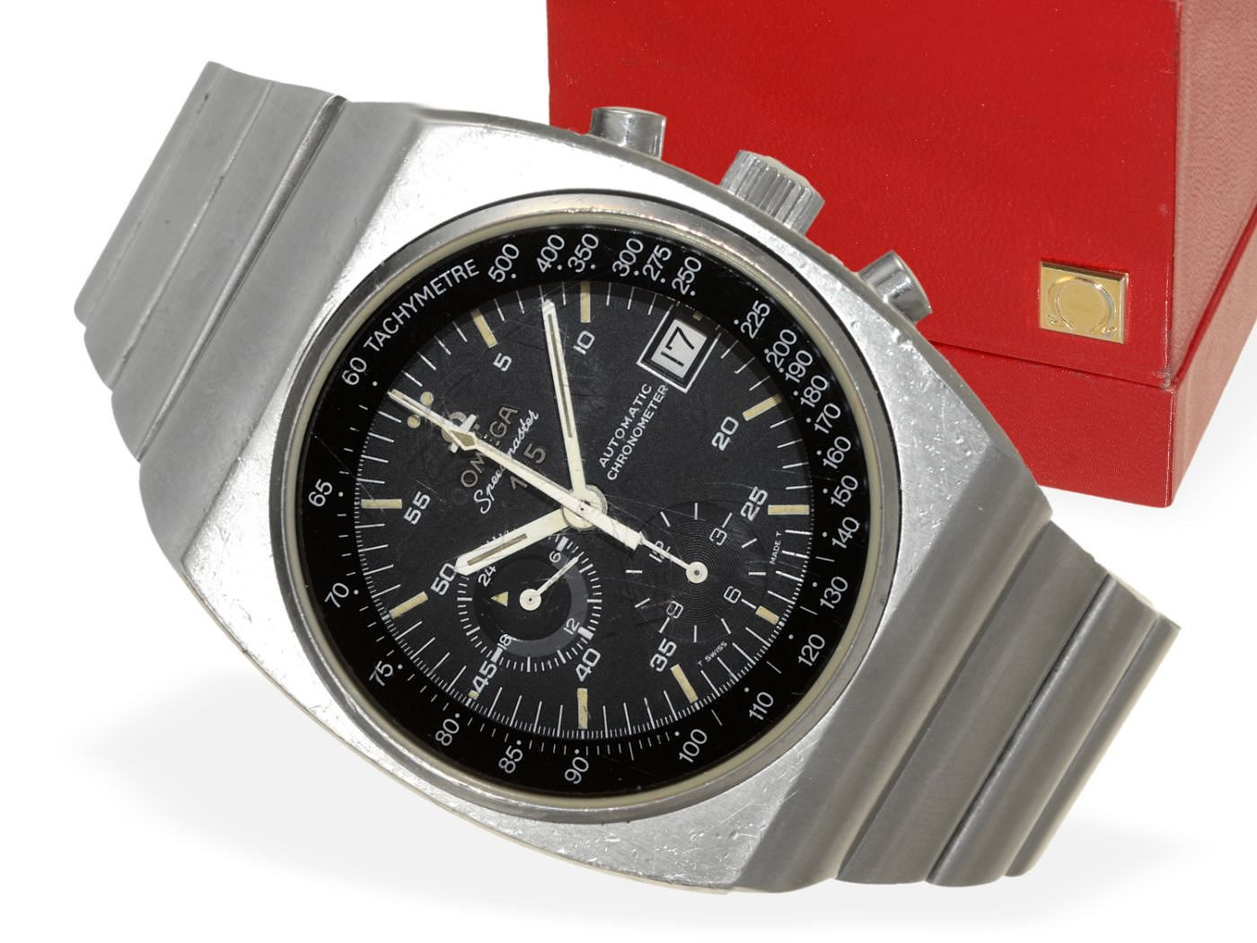 Wristwatch: vintage Omega Speedmaster chronograph 125, automatic chronometer with certificate, papers, original bill and original box from 1976-