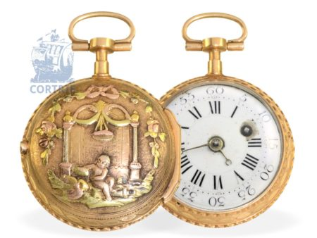 Pocket watch: rare and fine miniature verge watch with 4-coloured relief case, Freres Melly Paris ca. 1770-