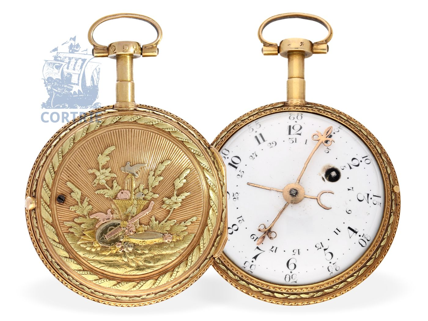 Pocket watch: fine 4-colored 18 K gold verge watch with calendar, Pierre Viala Geneve ca. 1780-