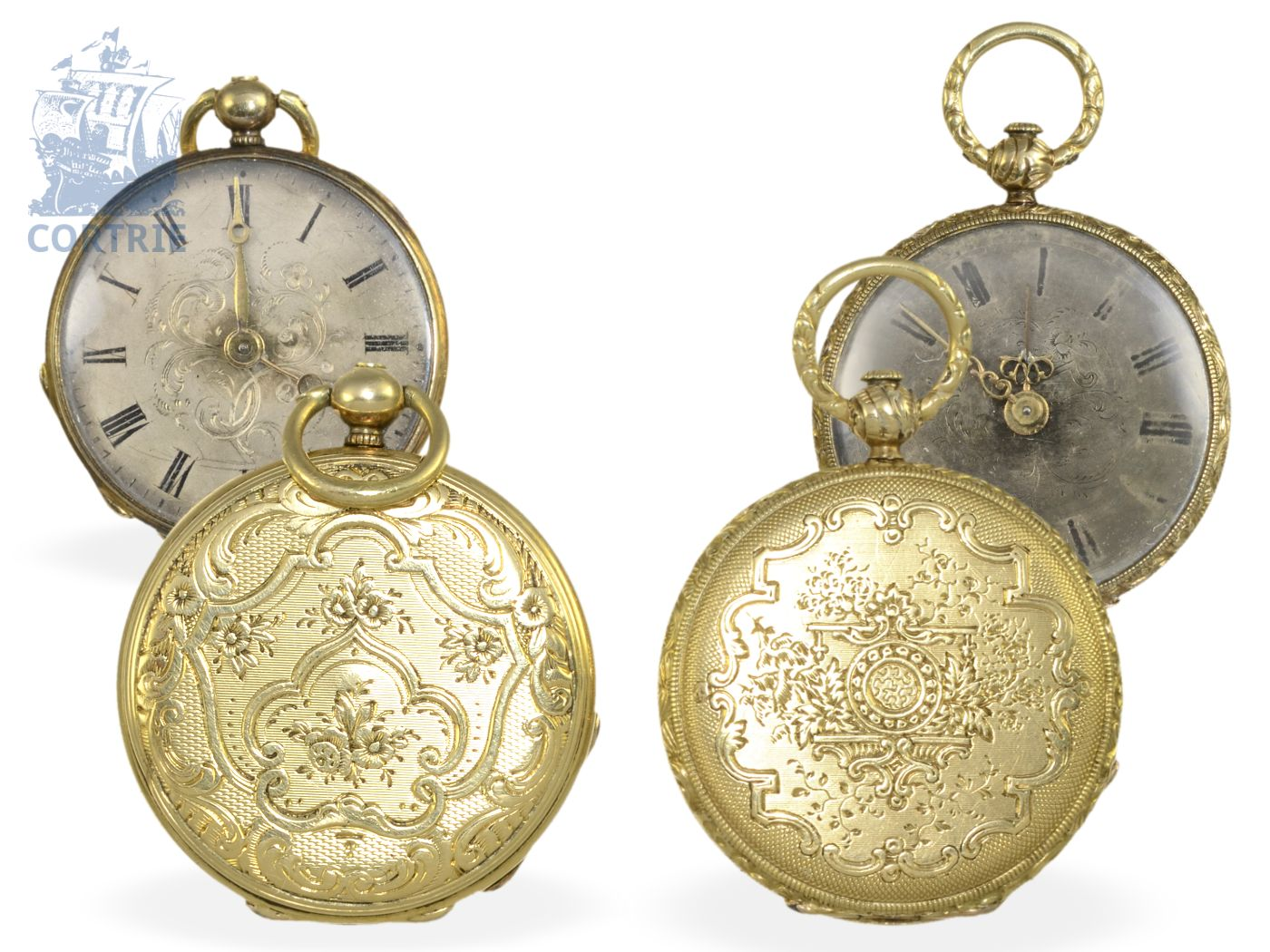 Pocket watch/pendant watch: pair of rare Lepines, miniature sizes, Robert Brandt & Muller, Switzerland ca. 1830/1840, formerly nobleman's possession-
