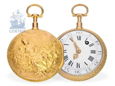 Pocket watch: French repoussé verge watch, 18K gold case, high quality, France ca. 1770-