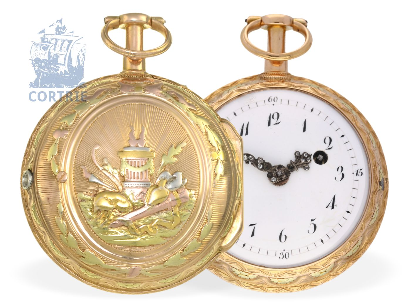 Pocket watch: rare and very beautiful 4-colored gold verge watch repeater, Mollard Grenoble ca. 1770-