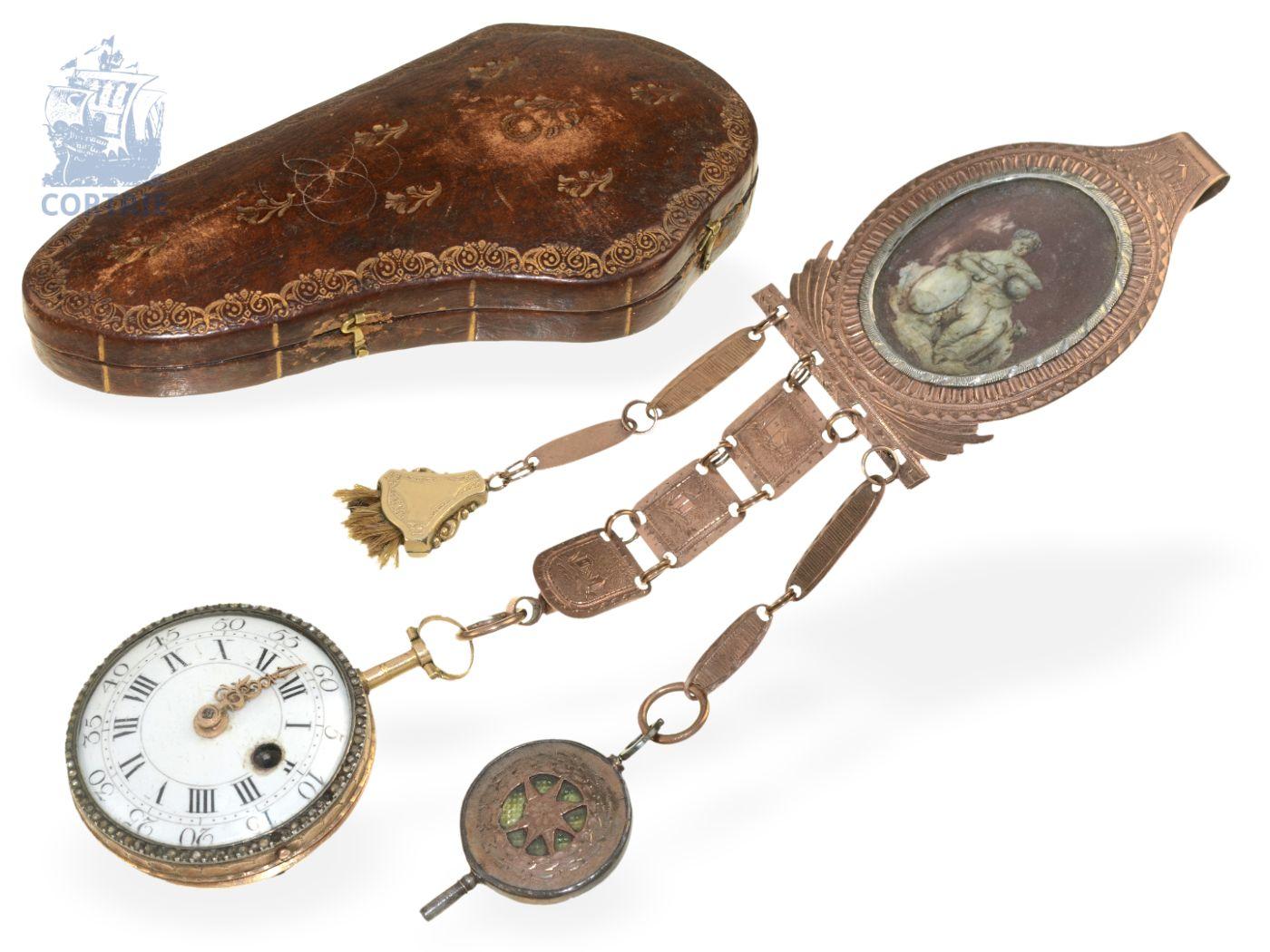 Pocket watch: rare verge watch, ca. 1760, with original chatelaine and original box-