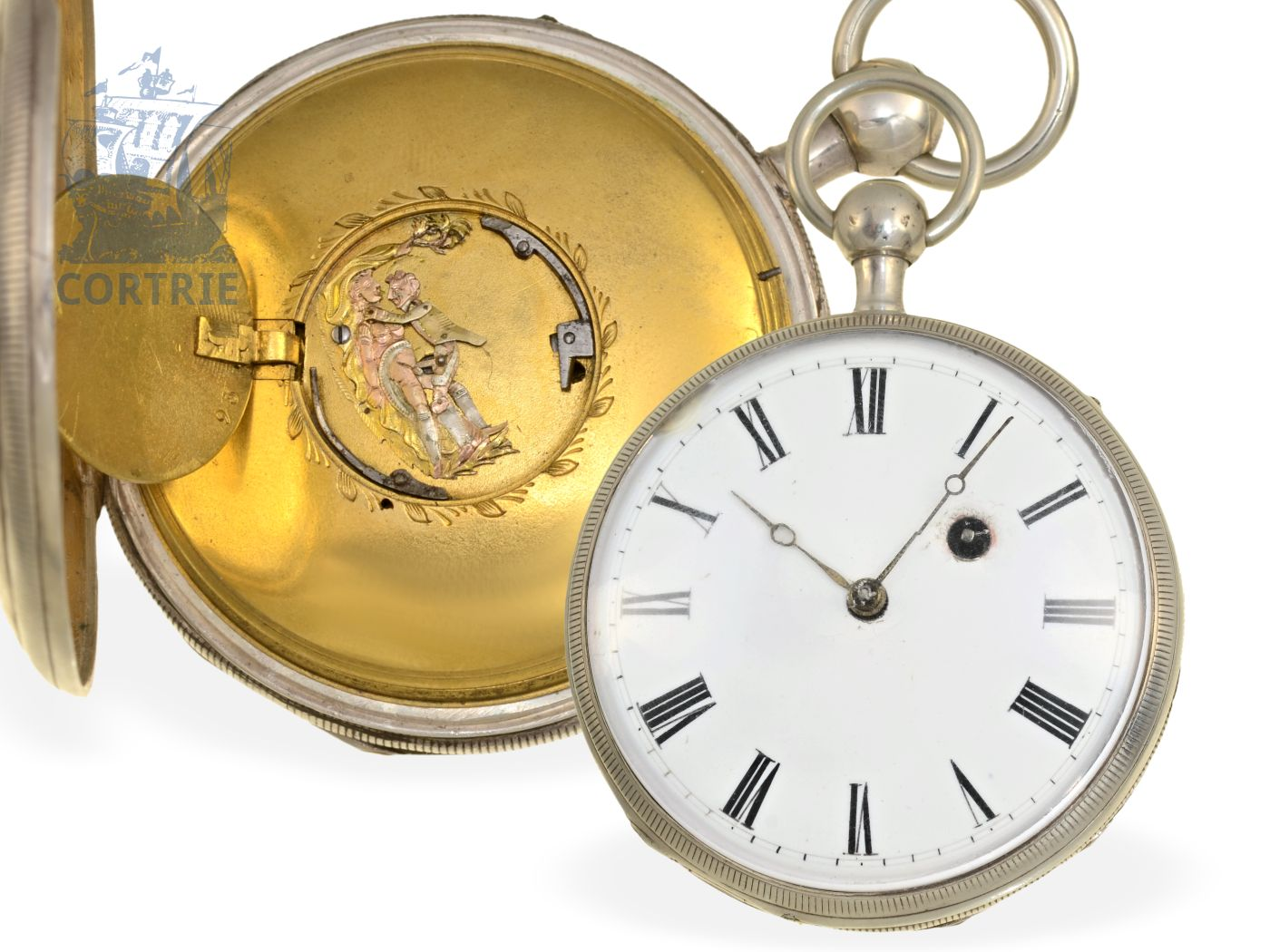 Pocket watch: verge watch repeater with hidden erotic figured automaton, probably France ca. 1820-