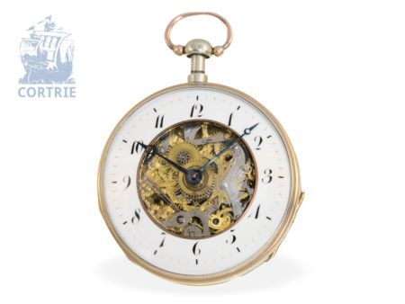 Pocket watch: rare and extravagant double face skeletonized verge watch, probably Geneva ca. 1820-