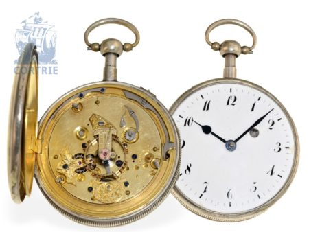 Pocket watch: French repeater, ca. 1820, unusual lever movement, probably unique piece from watchmaking school-