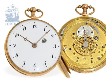 Pocket watch: heavy 18 K gold verge watch repeater, France ca. 1810, attributed to Freres Le Bon Paris-
