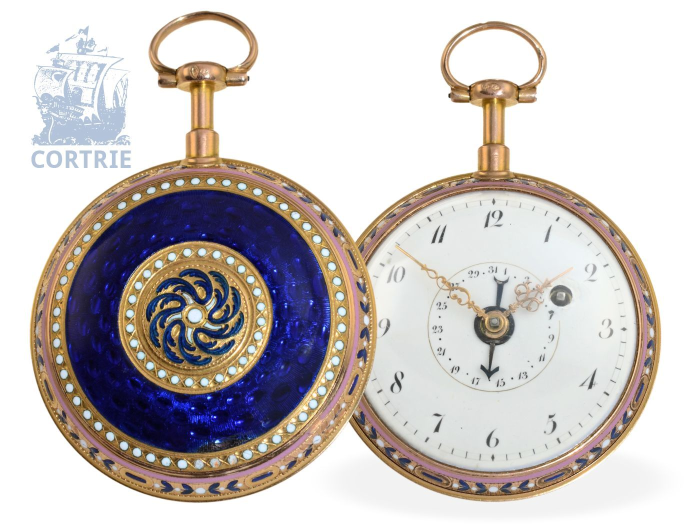 Pocket watch: gold/enamel pocket watch, prime quality case, with date, Francois Meyer Palais-Royal Paris 1771-1787-