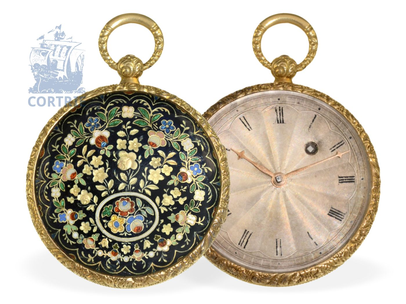 Pocket watch: fine and flat gold/enamel verge watch ALLIEZ, BACHELARD & TEROND FILS, GENEVA ca. 1830-