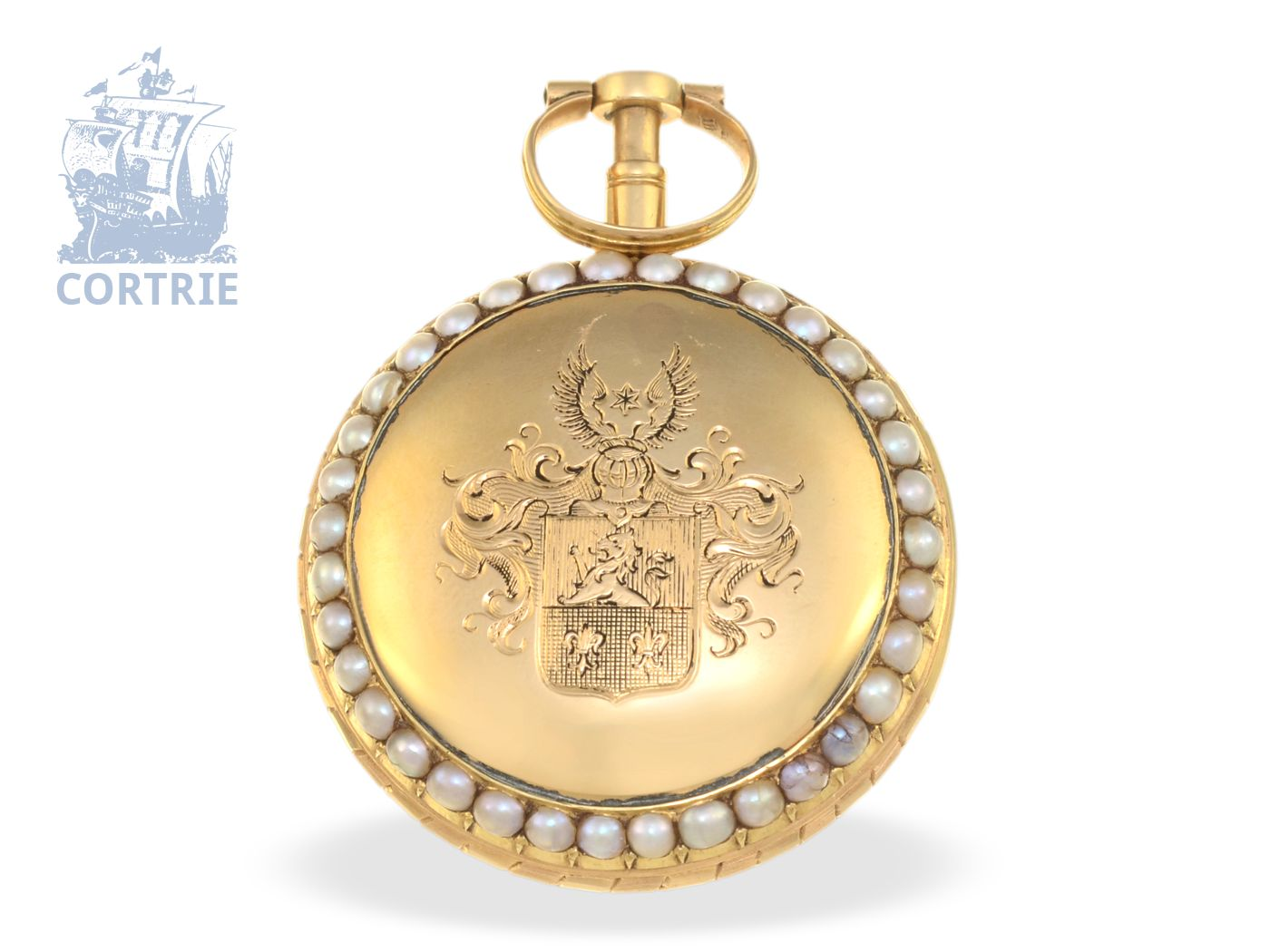 Pocket watch: very fine verge watch repeater with pearls on both sides, bell, formerly nobleman's possession, Berthoud Paris no.128, ca.1770-