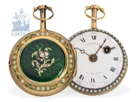 Pocket watch: decorative gold/enamel verge watch with pearls and diamonds, Bordier Paris ca. 1770-