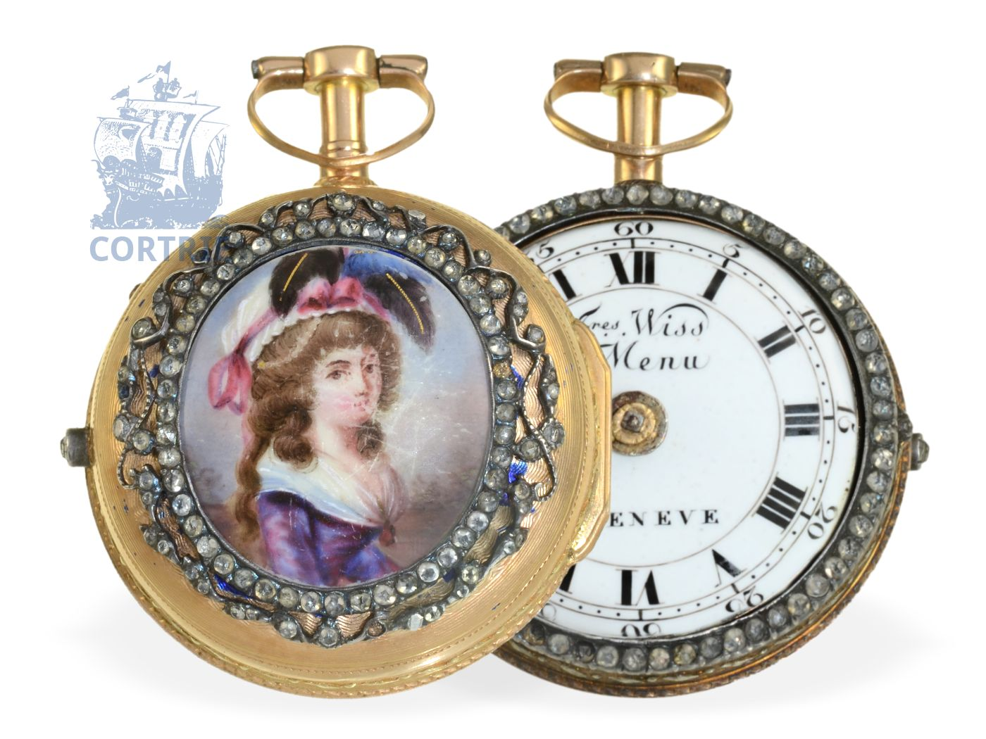 Pocket watch: rare paircase verge watch with enamel painting and jewels, Freres Wiss & Menu a Geneve ca. 1770-