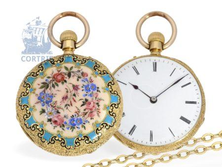 Pocket watch: very fine Geneva enamel watch, 18 K gold, signed Mottu Geneve, ca. 1860-