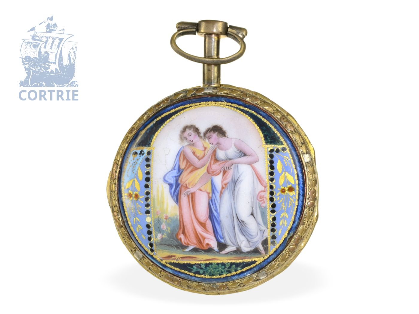 Pocket watch: fine signed enamel verge watch, important Geneva maker, Esquivillon et Deschoudens à Genève ca. 1780-