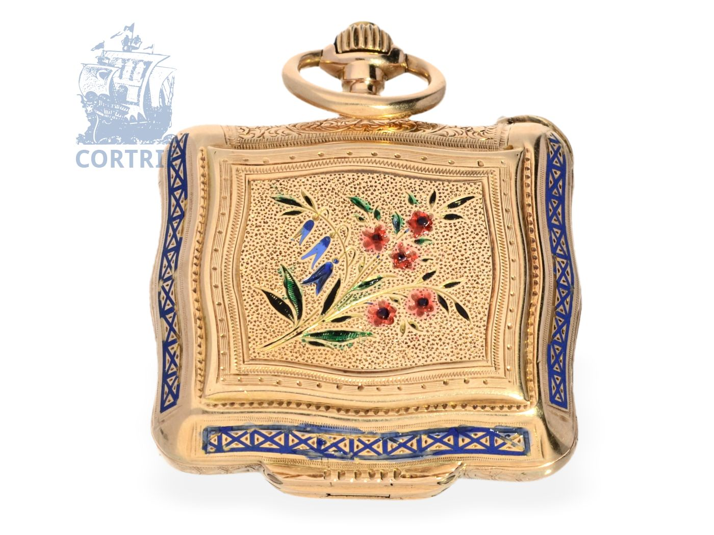 Pocket watch/pendant watch: extremely rare form watch handbag pink gold/enamel, signed Perret Geneve, ca. 1870-