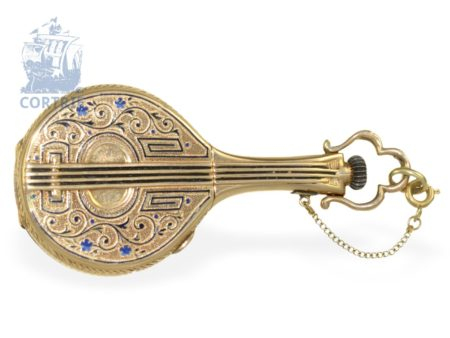 Chain watch/pendant watch: gold/enamel form watch, mandoline, Perret Geneve ca. 1870-