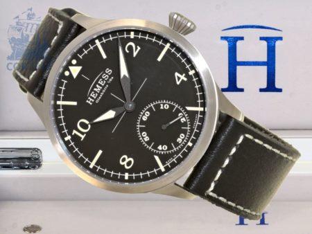 Wristwatch: high-class Glashütte pilot's watch Pilotuhr Hemess, reference A01063, unused, with original box and certificates-