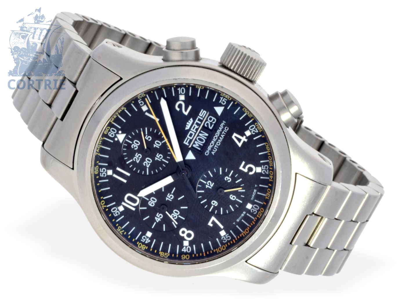 Wristwatch: big and heavy pilot's chronograph Fortis B-42, stainless steel-
