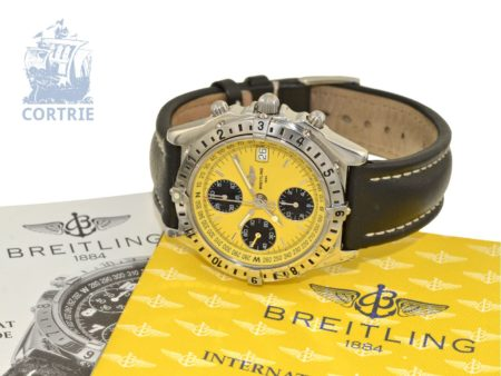 Wristwatch: sportive Breitling chronograph with box and certificates, Chronomat Longitude GMT Ref. A20048, like new-