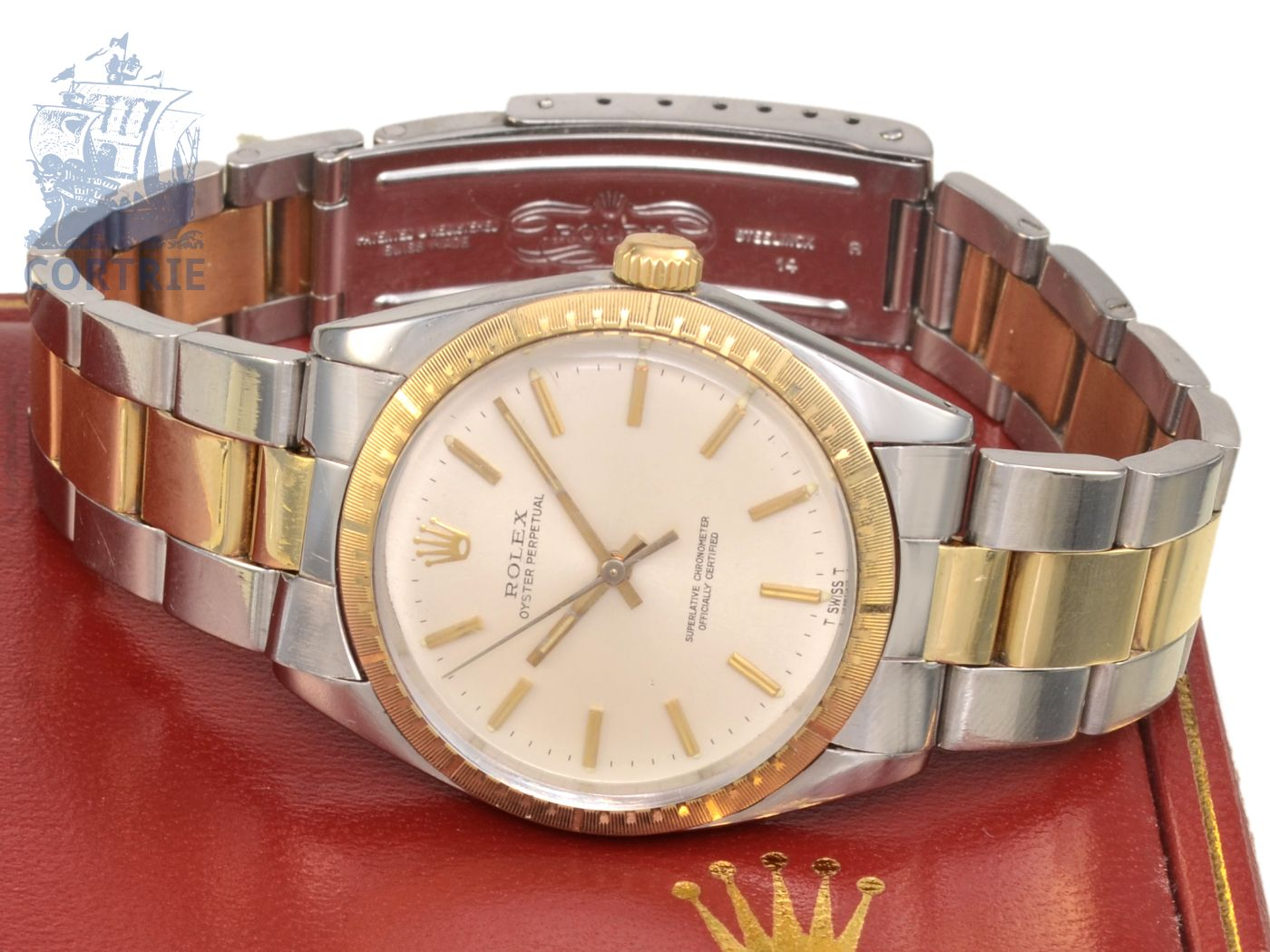 Wristwatch: vintage Rolex Oyster Chronometer, steel/gold, reference 1038, with original box-