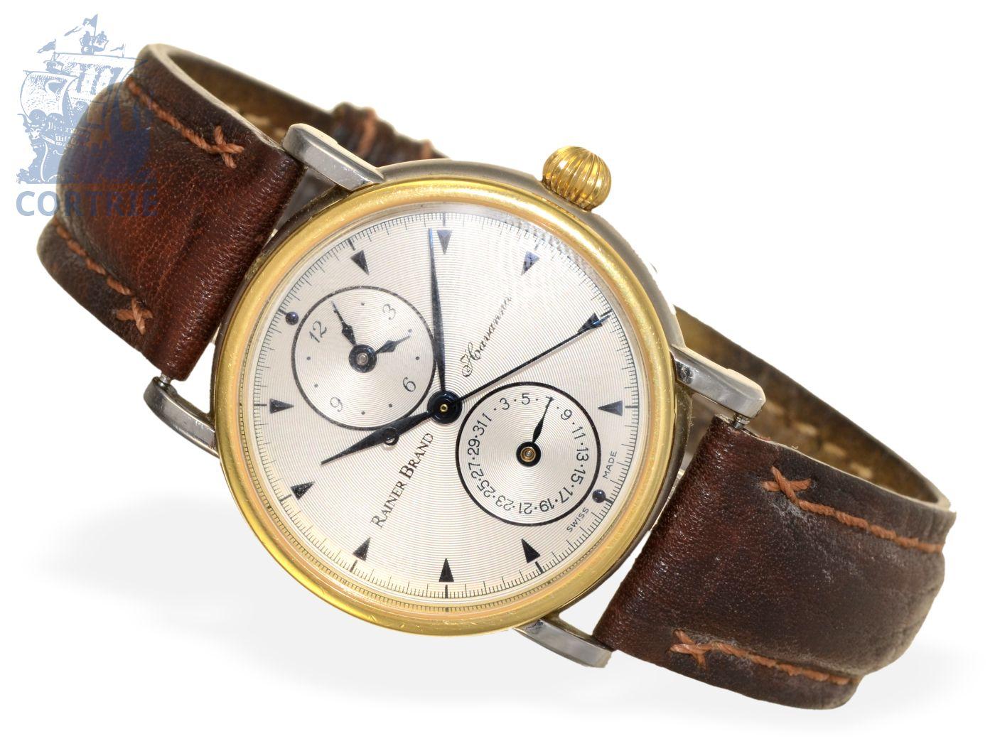 Wristwatch: elegant and very rare automatic gentlemen's watch, Rainer Brand Havanna Dualtime steel/gold-