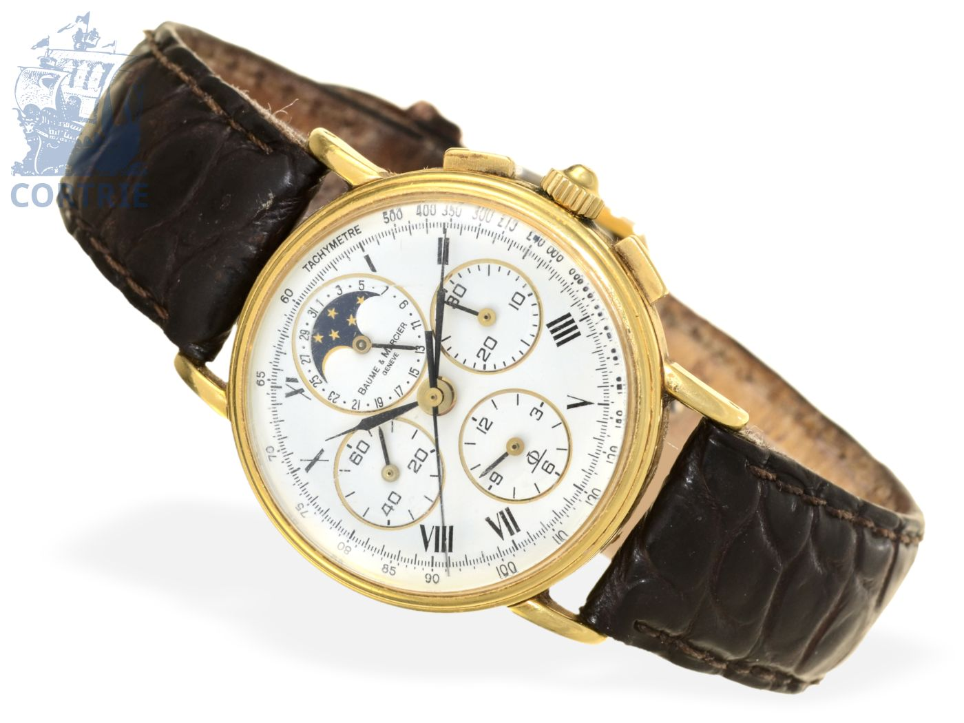 Wristwatch: very rare and vintage chronograph with calendar and moon, Baume & Mercier Ref. 86102, from the 80s-