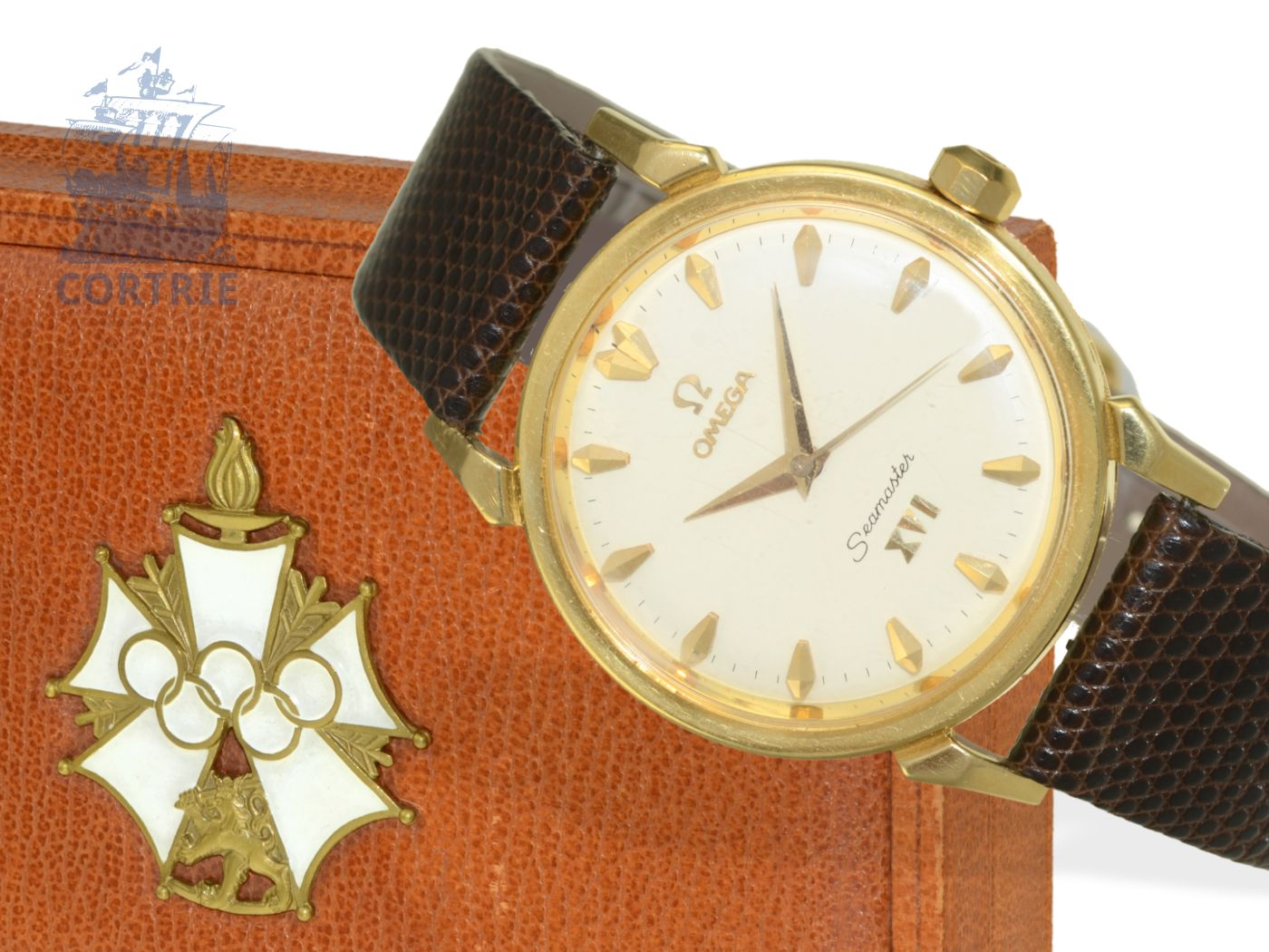 Wristwatch: Omega rarity, vintage Seamaster XVI OLYMPIA Melbourne 1956, 18 K gold, with original box-