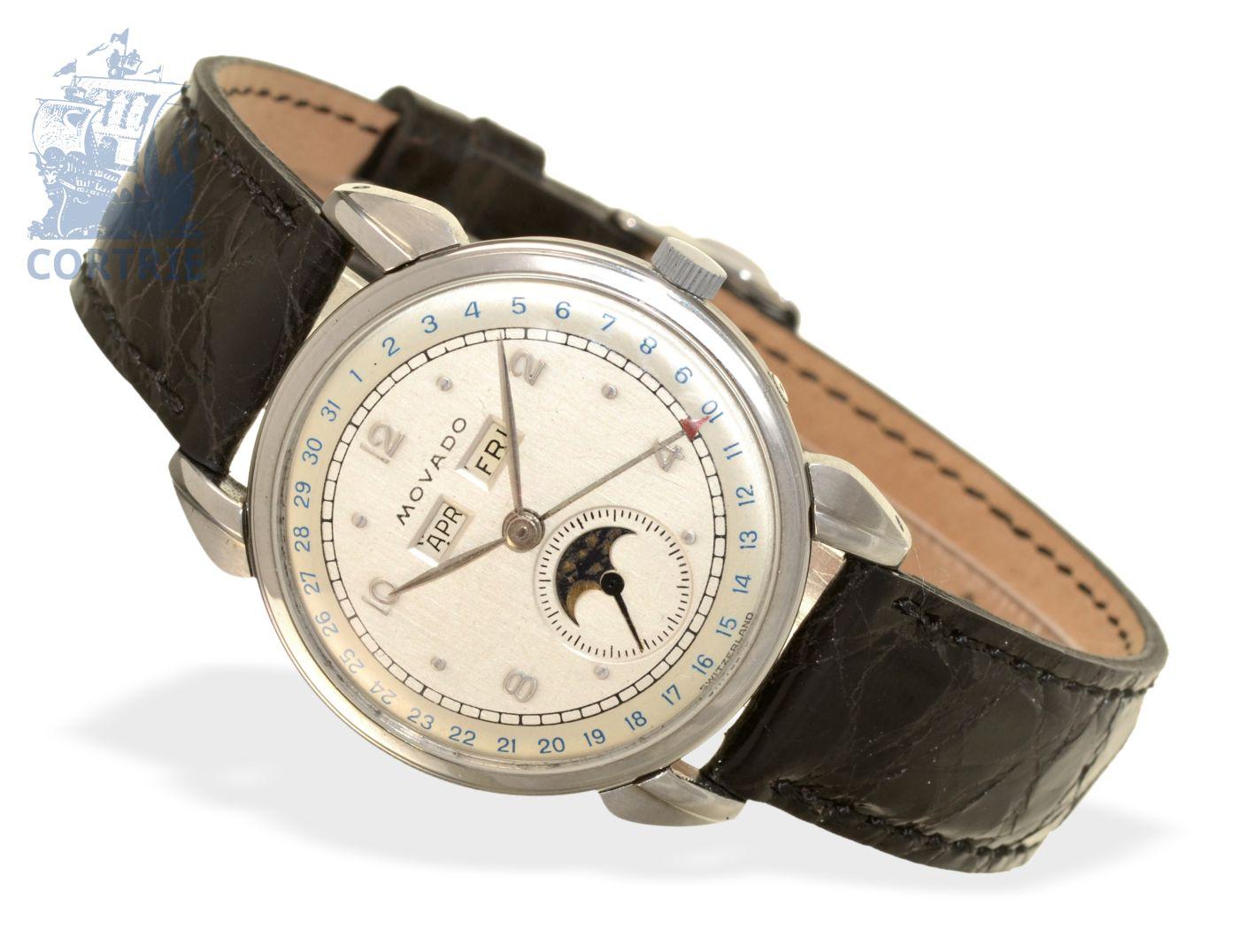 Wristwatch: vintage calendar watch by Movado, excellent condition, ca. 1950-