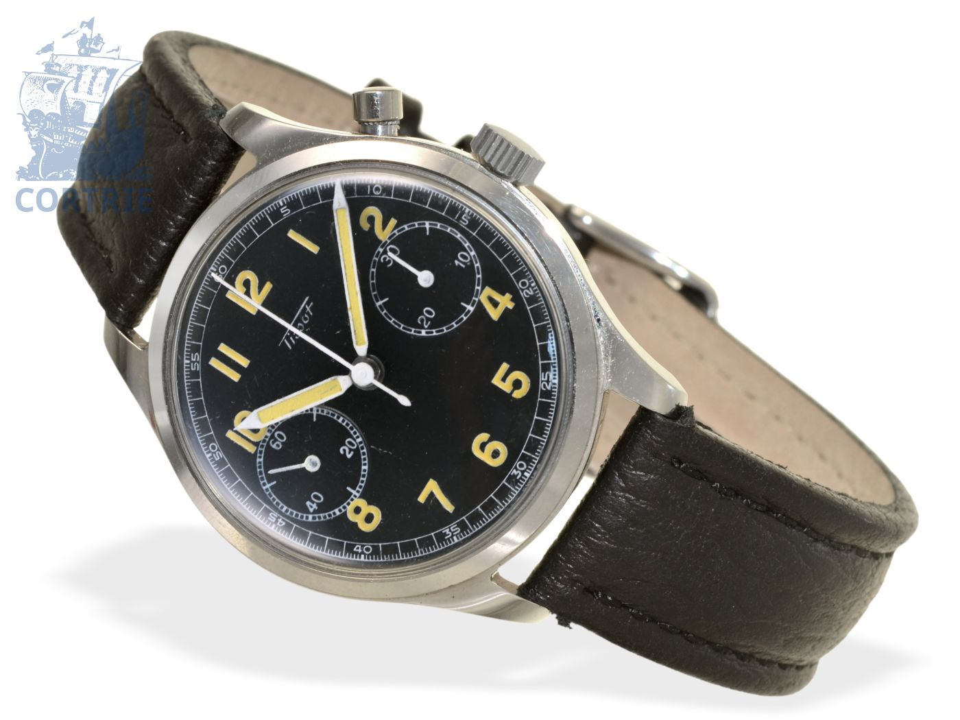 Wristwatch: rare Tissot chronograph with black dial, ca. 1950-