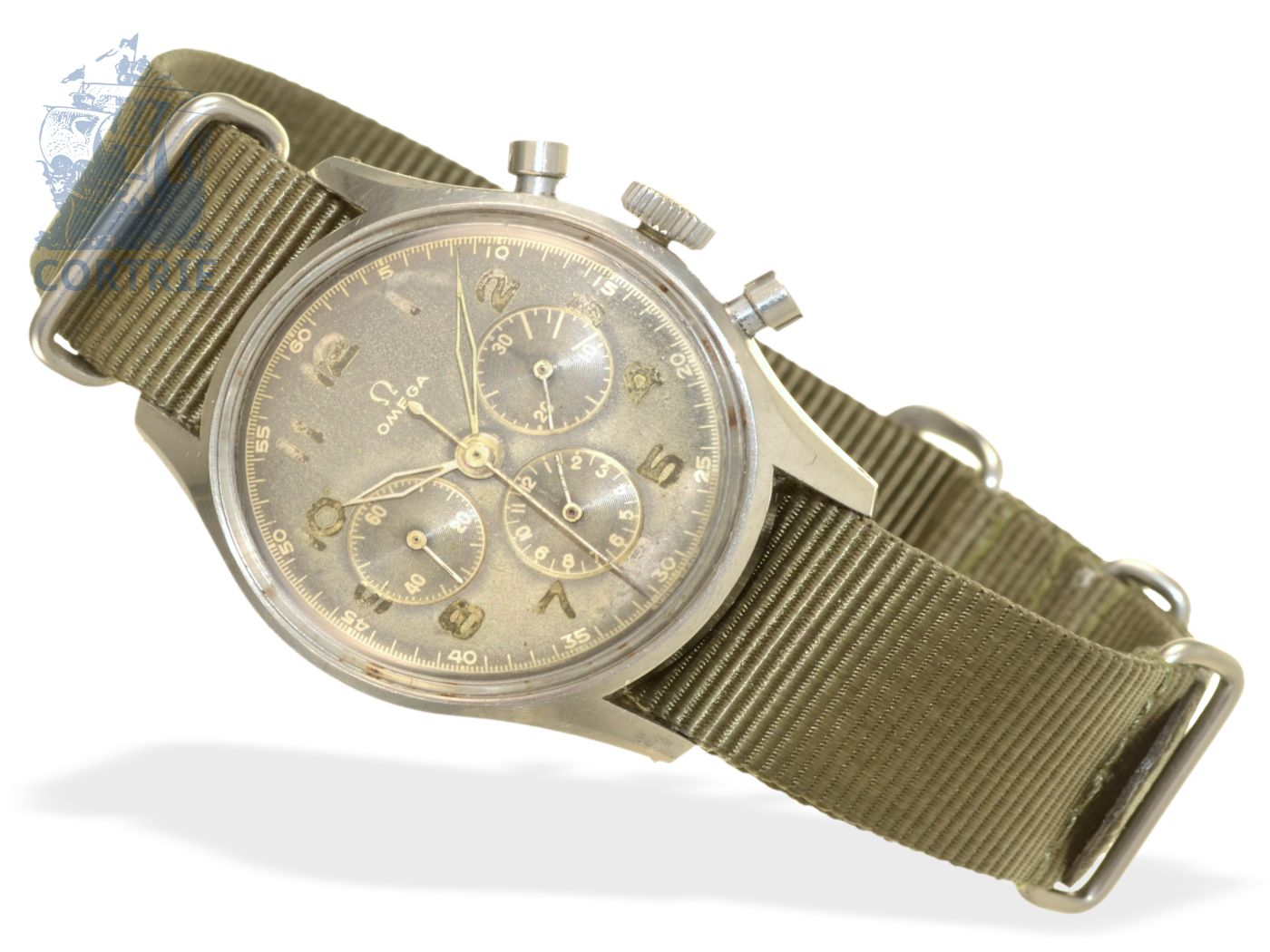 Wristwatch: very early, probably military Omega stainless steel chronograph, ca. 1945, reference numeral 2451-