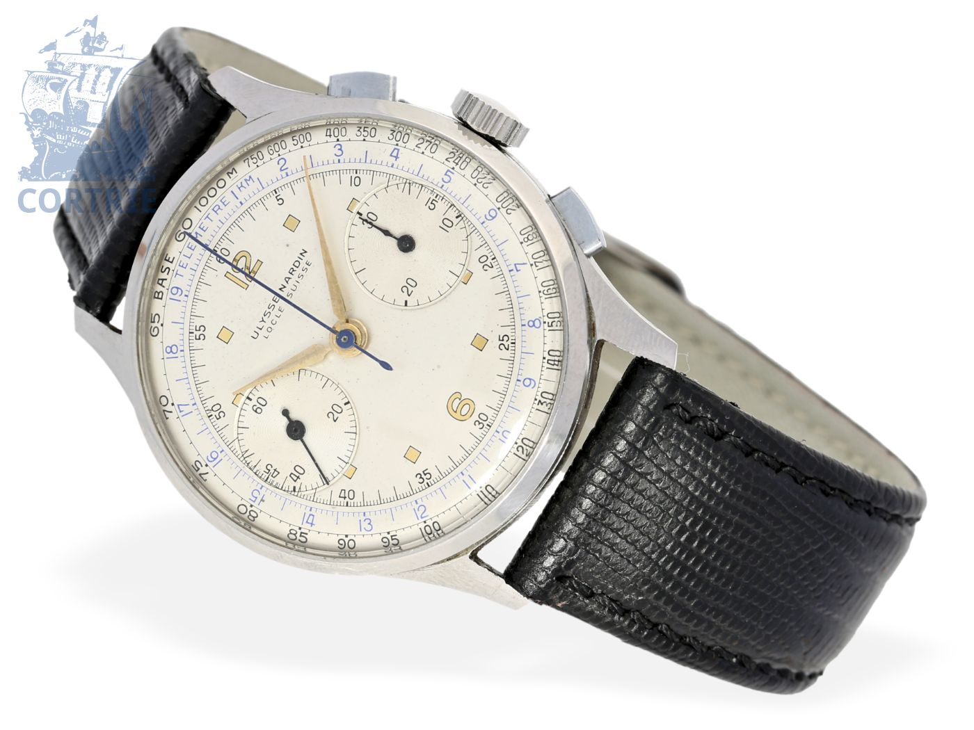 Wristwatch: fine and big Ulysse Nardin steel chronograph with tachymeter scale & telemeter scale, ca. 1945-
