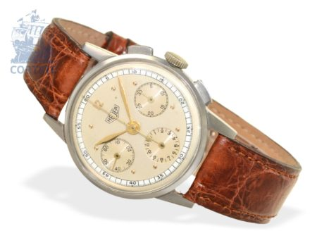 Wristwatch: rare and early Heuer chronograph, stainless steel, caliber 72, ca. 1950-