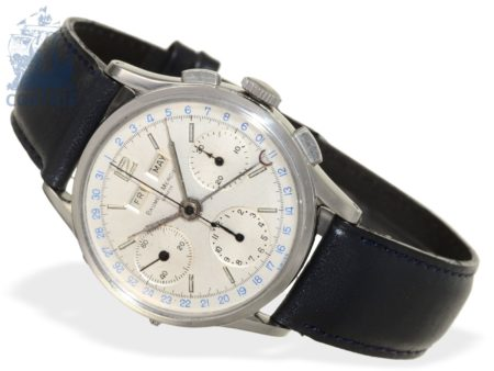 Wristwatch: very rare Geneva triple date chronograph, stainless steel, Baume & Mercier Ref.1901, ca. 1950-