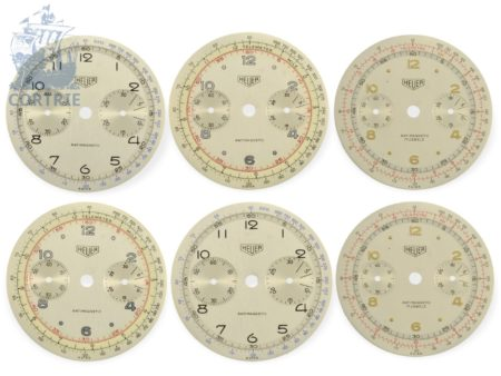Wristwatch: collection of 6 new-old-stock Heuer chronograph dials-
