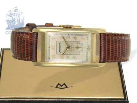 Wristwatch: very rare and big gold curvex gentlemen's watch, Movado Curviplan with box, probably ca. 1945-