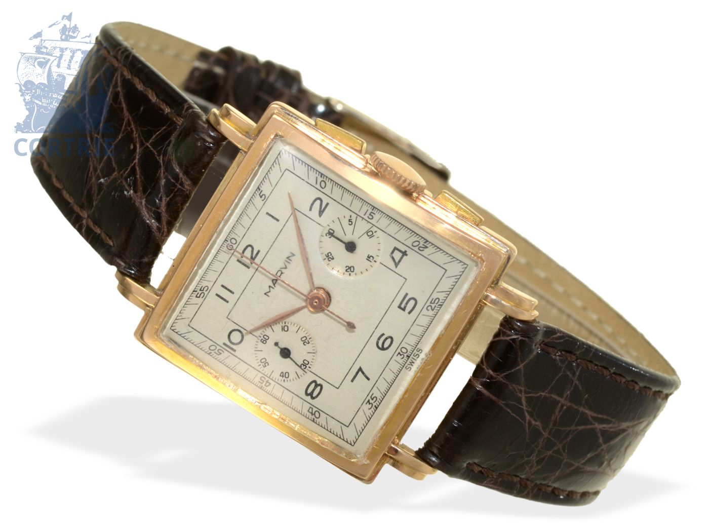 Wristwatch: extremely rare 18 K gold chronograph with square case, Marvin ca. 1940-