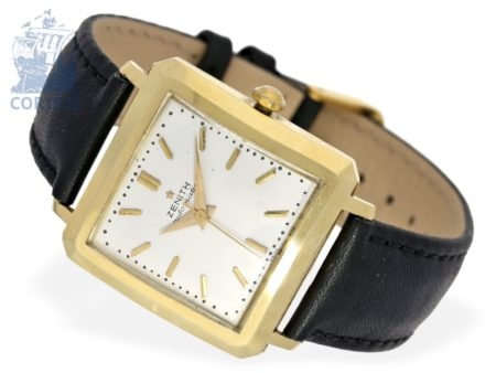 Wristwatch: rare and big square vintage gentlemen's watch with hammer automatic, Zenith Carré A Coin Coupés from the 60s-