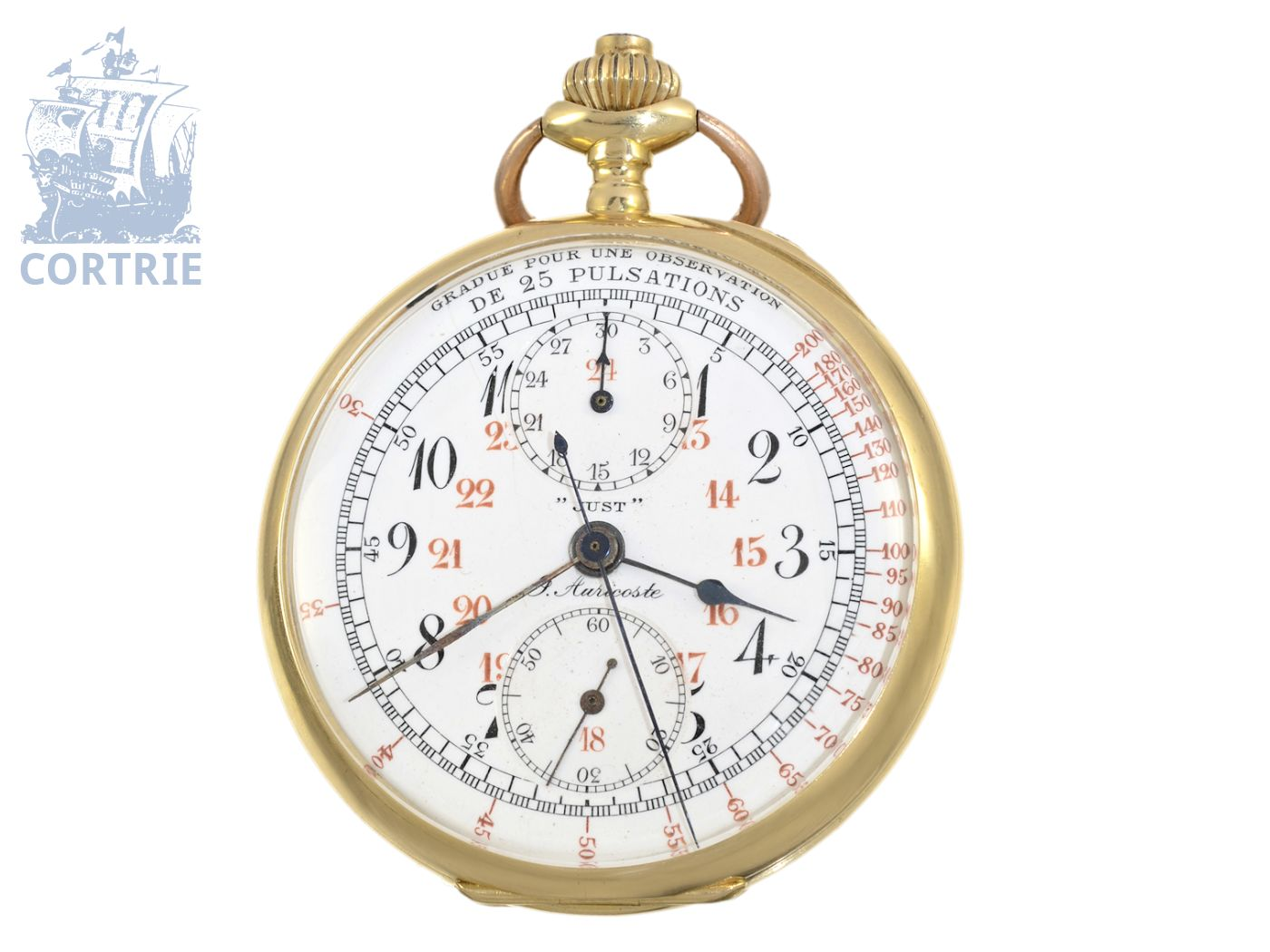 Pocket watch: rare doctor's chronograph ca. 1910, J. Auricoste Hger de la Marine Paris-
